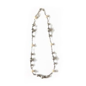 Stella & Dot Silver & White Pearl Beaded Necklace